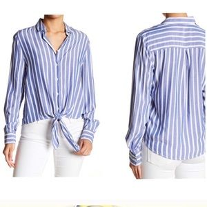 Striped button up tie front blouse